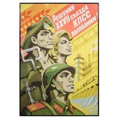 U.S.S.R. Framed Propoganda Poster, circa 1980