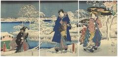 Snow, Original Japanese Woodblock Print, Hiroshige II, Toyokuni III, Genji, Blue