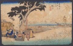 Fukuroi Dejaya No Zu - Orignal Woodcut by Utagawa Hiroshige - 1833