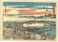 Japanese Landscape - Original Woodcut Print by Utagawa Hiroshige - 19th Century