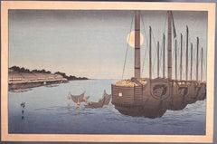 Night Fishing - Original Woodcut After Utagawa Hiroshige - Early 20th Century