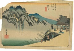 Sakanoshita, Fudesute Mine - Original Woodcut by Utagawa Hiroshige - 1833/1834