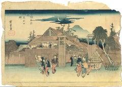 Shimabara (Moonlight, Gate of... - Woodcut by Utagawa Hiroshige - 1836