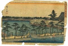 Shinobazu no ike benten no hokora - Woodcut by Utagawa Hiroshige - 1837/1844