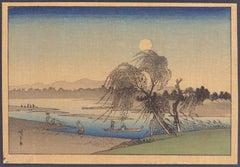 Tamagawa Autumn Moon - Original Woodcut by Utagawa Hiroshige - Late 19th Century