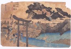 The Yugyô-ji Temple - Orignal Woodcut by Utagawa Hiroshige - 1833 ca
