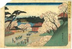 Tôeizan Temple at Ueno - Original Woodcut by Utagawa Hiroshige - 1832