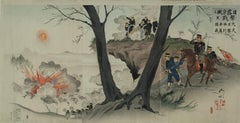 A Fierce Battle at Seoul by Kokunimasa (Ryukel ) woodblock tryptich 1904
