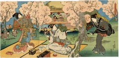 Beauties Picnicking Beneath Cherry Blossoms Triptych