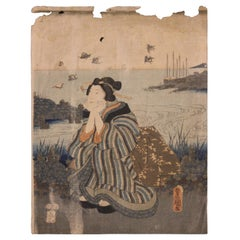 Beauty Seated by a River Japanese Woodblock Print