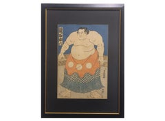 Kagami-ishi Sukeroku Japanese Wood Block of a Sumo