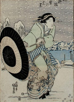 """Yanagibashi in Snow,"" Color Woodcut Portrait with Umbrella by Utagawa Kunisada"