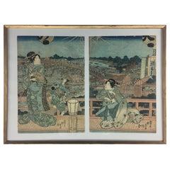 Utagawa Kunisada 'Toyokuni III' Japanese Beauties under Star Studded Sky