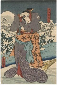 Beauty Umegawa in a Kabuki role