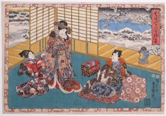 Genji Monogatari - Chapter 24: Kocho - Woodcut by Utagawa Kunisada - 1851