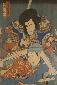 Japanese Actors - Original Woodcut by Utagawa Kunisada - 19th Century