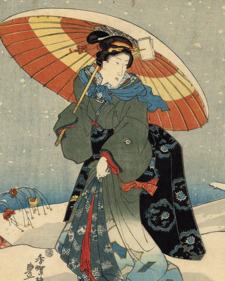 Japanese Beauties With Umbrellas in the Snow Visit the Shinto Shrine - Print by Utagawa Kunisada (Toyokuni III)