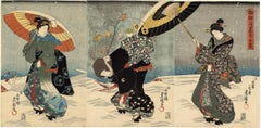 Japanese Beauties With Umbrellas in the Snow Visit the Shinto Shrine