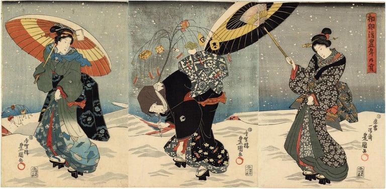 Utagawa Kunisada (Toyokuni III) Figurative Print - Japanese Beauties With Umbrellas in the Snow Visit the Shinto Shrine