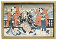 Japanese Theatrical Scene - Original Woodcut by Utagawa Kunisada - 1860 ca.