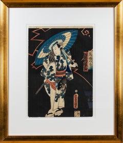 'Kawarazaki Gonjuro Acting as Araiso no Koji' original ukiyo-e woodblock 1860s