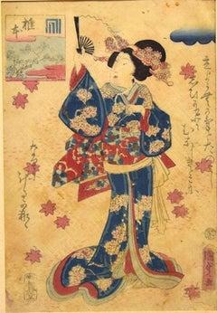 Oriental Woman with Fan - Original Woodcut by Utagawa Kunisada - 1860s