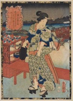 Sotoba Komachi - Original Woodcut by Utagawa Kunisada - 1840s
