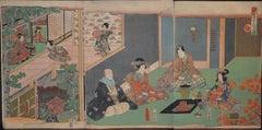 Tea Ceremony - Original Woodcut Triptych by Utagawa Kunisada - Late 19th Century