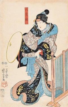 Kabuki Actor - Original Woodcut Print by Utagawa Kuniyoshi - 1848
