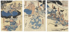 Kuniyoshi, Soga, Warrior, Original Japanese Woodblock Print, Japanese Art, Edo