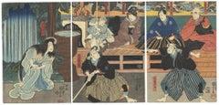 Kuniyoshi Ukiyo-e Japanese Woodblock Print, Fencing, Kabuki Theatre Play