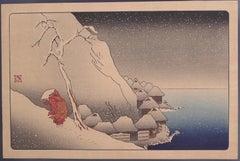 Nichiren in the Snow at Tsukahara on Sado Island by Utagawa Kuniyoshi - 1800s
