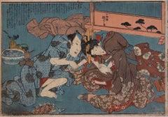 Shunga - Original Woodcut by Utagawa Kuniyoshi - 1850