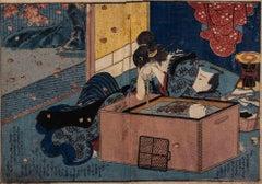 Shunga - Original Woodcut by Utagawa Kuniyoshi - Mid-19th Century