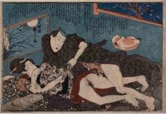 Shunga with Cat - Original Woodcut by Utagawa Kuniyoshi - 1850