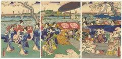 Utagawa Sadahide, Cherry Blossoms, Japanese Woodblock Print, Ukiyo-e, Triptych