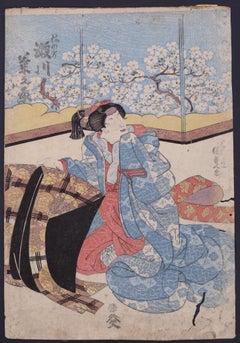 Kabuki Theatre Scene - Original Woodblock print by Utagawa Toyokuni II - 1810 ca