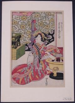 The Japanese Tea Ritual - Original woodcut print - 1850s