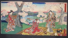 Tryptique under the Cherry Trees in Blossom - by Utagawa Toyokuni II