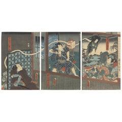 Utagawa Toyokuni III, Kabuki Play, Original Japanese Woodblock Print, Ukiyo-e