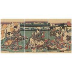 Utagawa Toyokuni III, Tale of Genji, Music, Original Japanese Woodblock Print