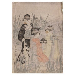 Three Beauties by a River Japanese Woodblock Print