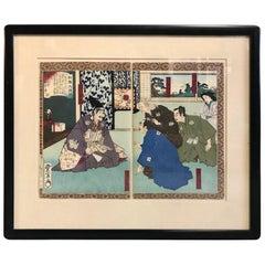 Utagawa Toyonobu Shinsen Taikoki Japanese Woodblock Diptych Print, 19th Century