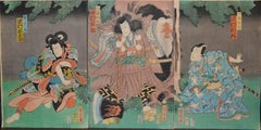 Three Warriors - Original Woodcut Triptych by Utagawa Yoshitora - Early 1800
