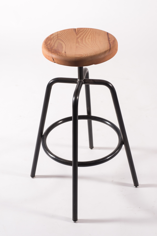 Enjoyable Utility Bar Stool Bt In Blackened Steel With Douglas Fir Wood Top Machost Co Dining Chair Design Ideas Machostcouk