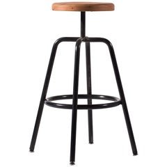 Utility Bar Stool BT in Blackened Steel with Douglas Fir Wood Top