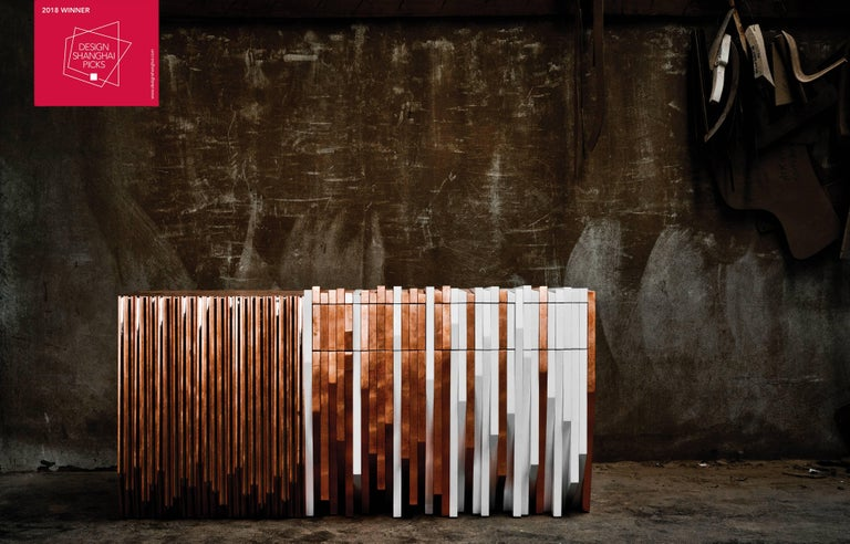 Stainless Steel Utopia Console Table Handmade in Copper Leaf and White Lacquered Wood For Sale