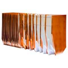 Contemporary Handmade Console Table, in White Lacquer and Copper Leaf