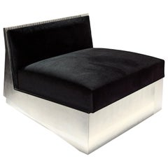 Contemporary Black Velvet Handcrafted in Silver Leaf Armchair by Drama Studio