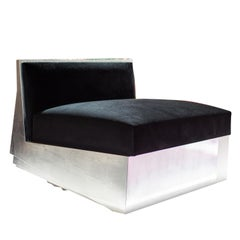 Utopia Contemporary Lounge Armchair Handmade in Silver Leaf and Velvet